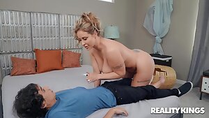 Latino dude with a huge dick fucking a white cougar Eva Notty